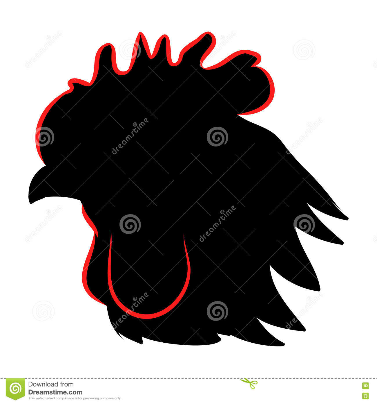 Rooster head silhouette stock vector. Illustration of ...