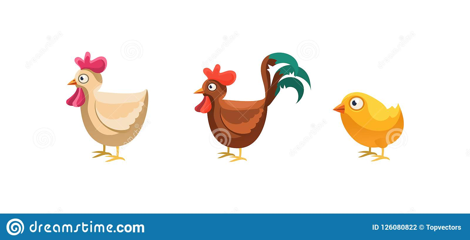 Image of: Animal Crossing Rooster Hen And Chicken Funny Cartoon Farm Animals Game User Interface Element For Mobile Or Computer Games Vector Illustration Web Design Fishing Games Rooster Hen And Chicken Funny Cartoon Farm Animals Game User