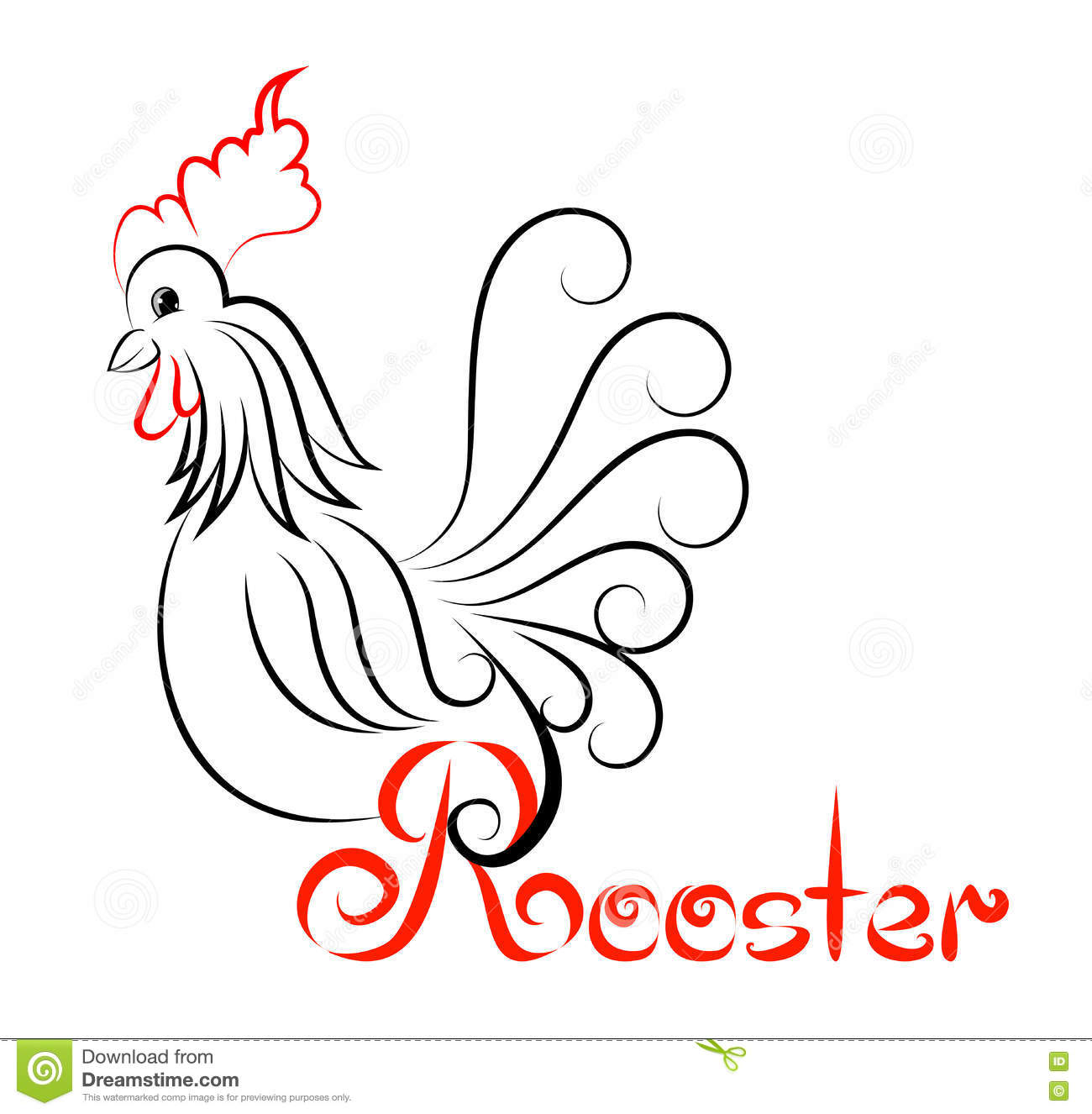 rooster logo rooster with swirls stock vector illustration of