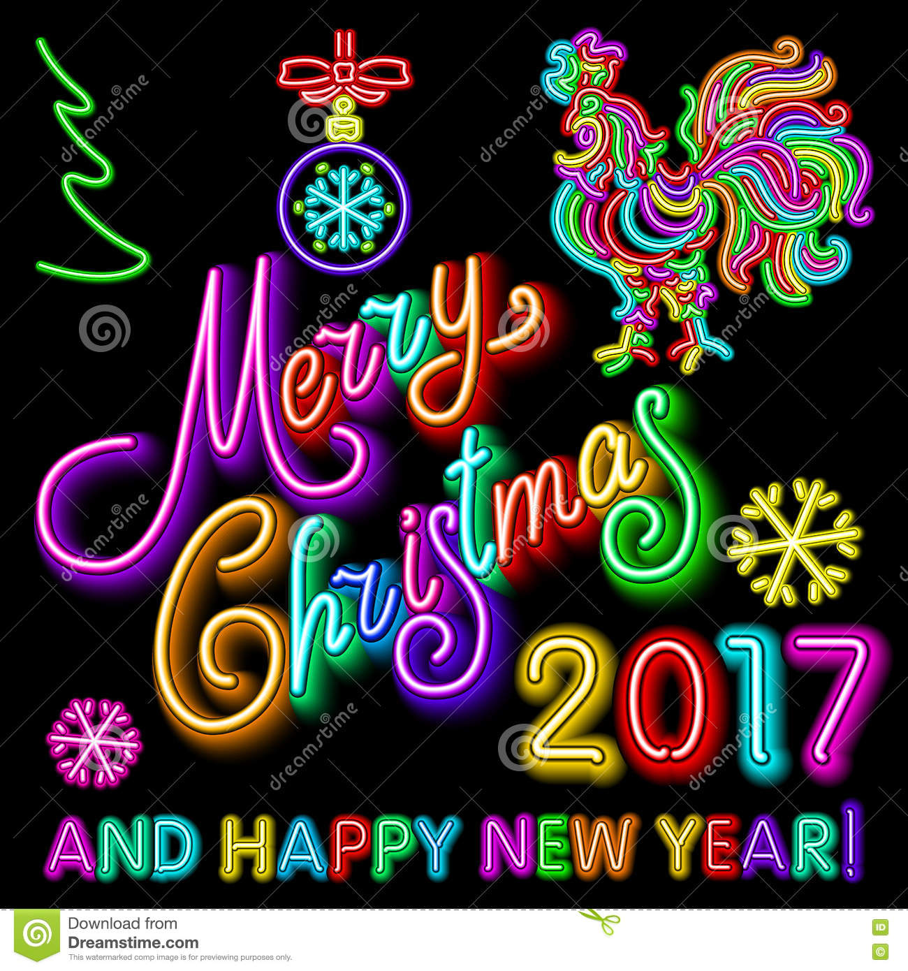 vector illustration green merry christmas and happy new year 2017 neon light color toy rooster snow art