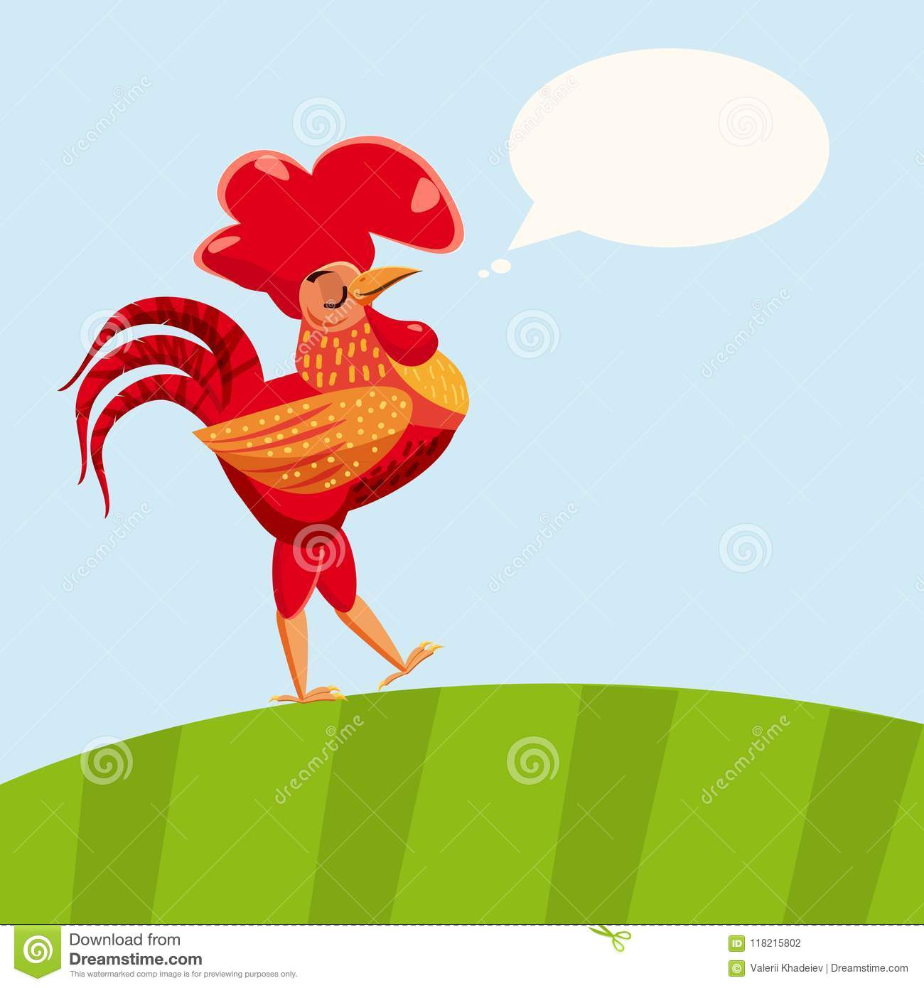 Rooster red isolated. Cartoon style vector illustration. Template for your design works.