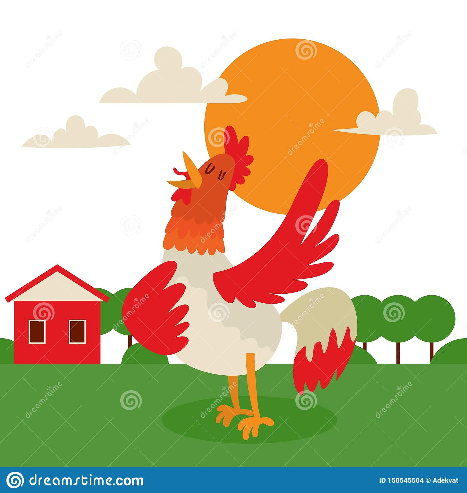 Rooster singing or performing song on country land background banner vector illustration. Farm with bright plumage