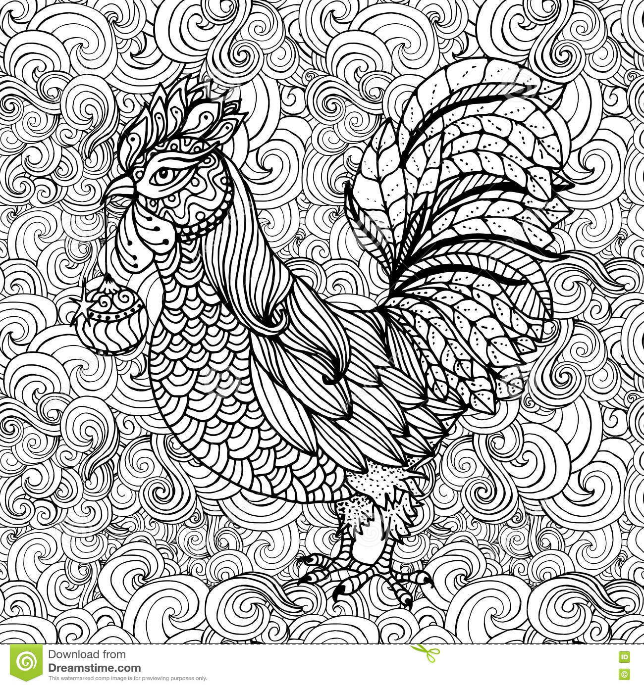 rooster symbol of 2017 for chinese calendar coloring book page
