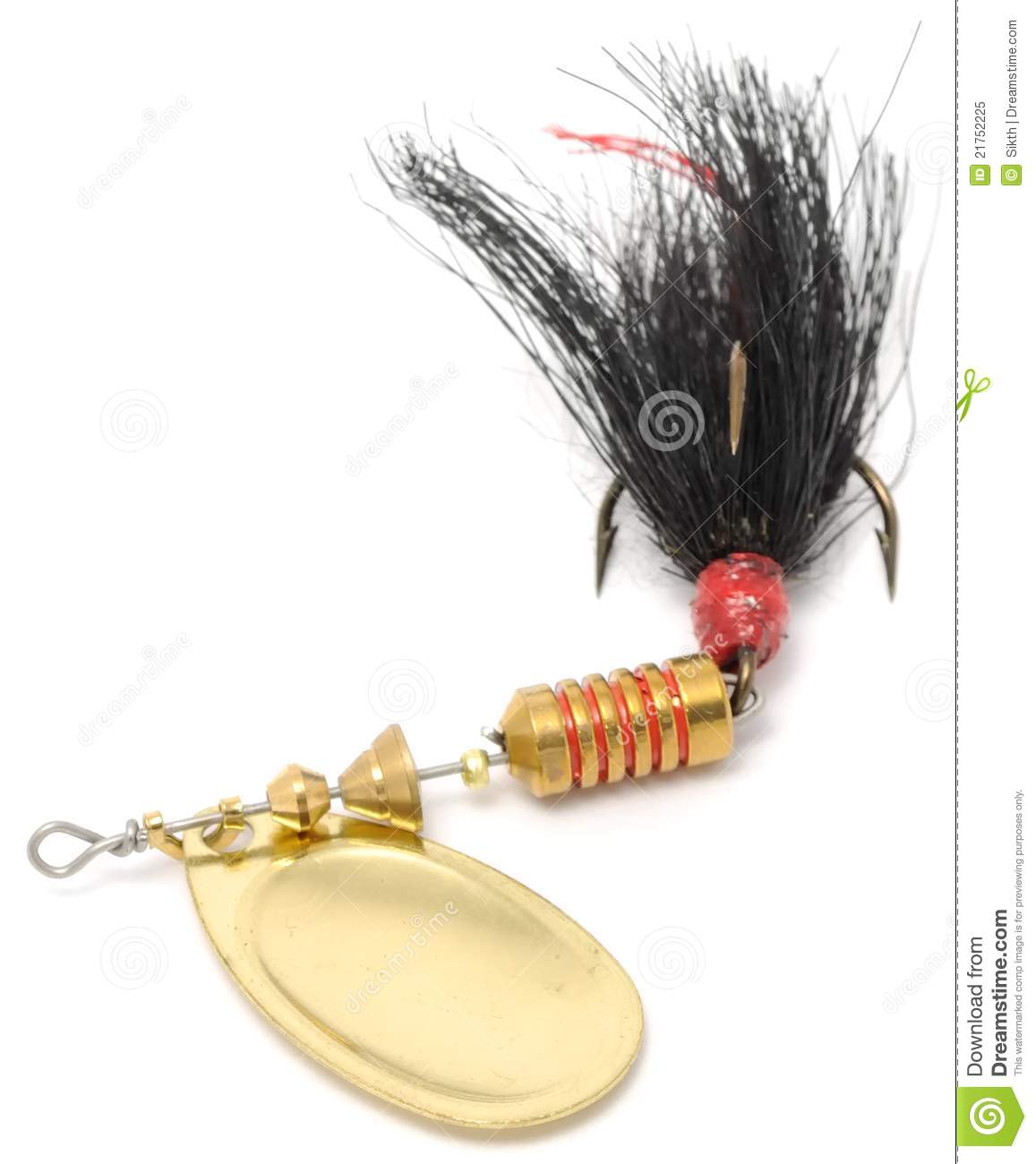 Rooster tail fishing spinner spoon lure stock image for Rooster tail fishing lure