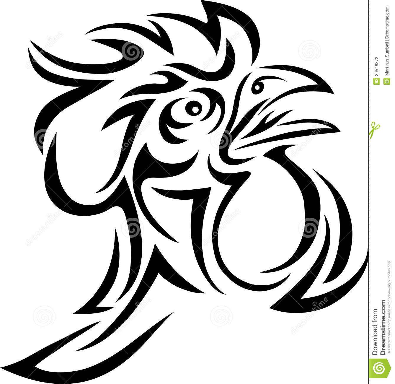 1063475204d33 Rooster tribal stock vector. Illustration of nature, rooster - 39546372