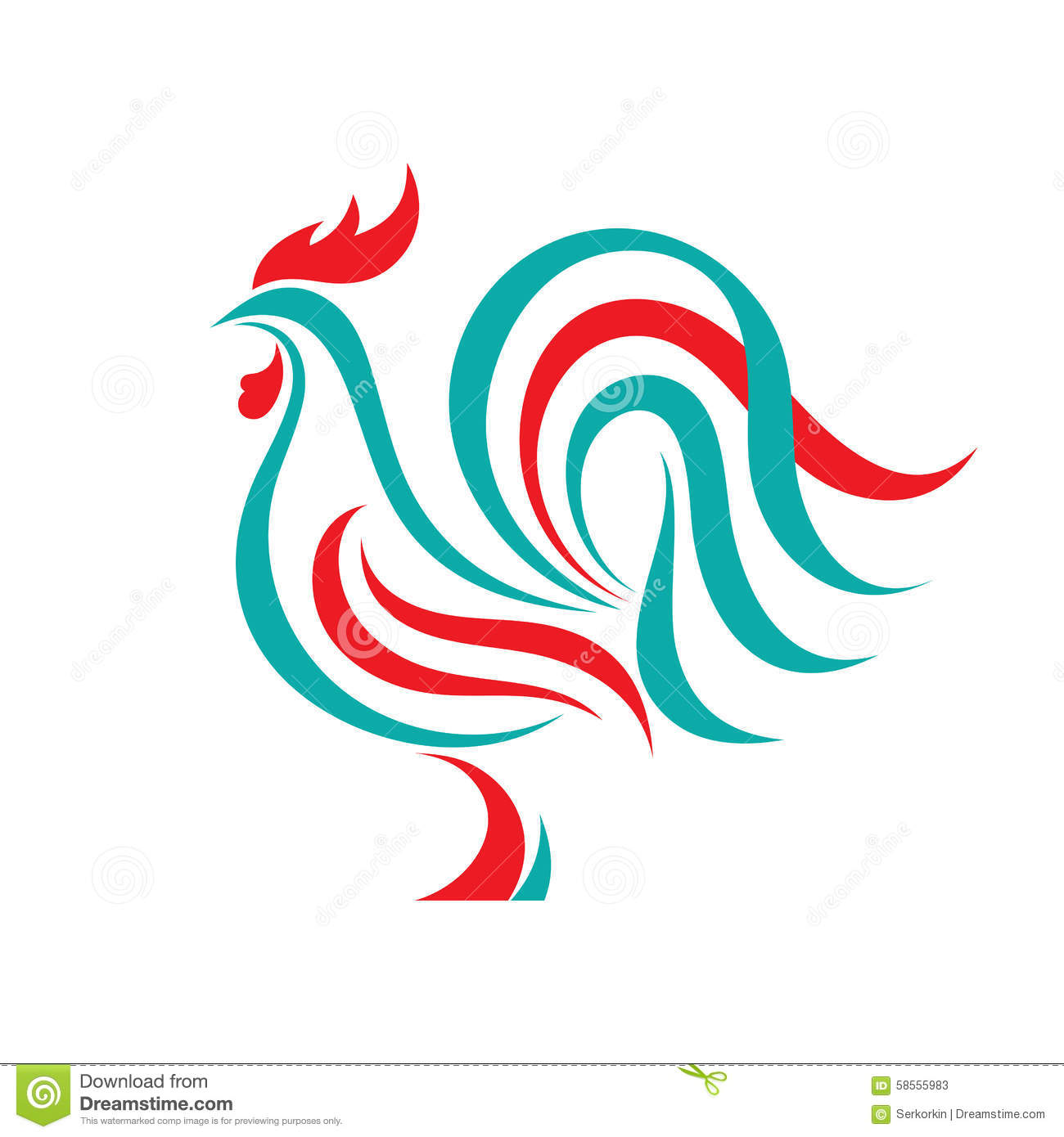 ... . Bird cock abstract illustration. Cock logo. Vector logo template