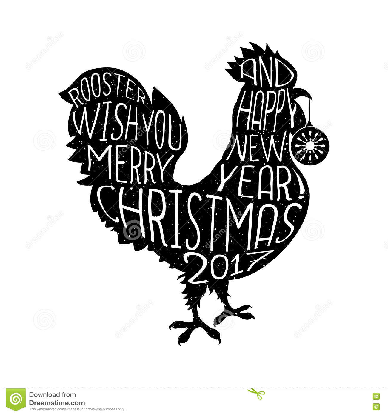 Rooster Wish You Merry Christmas And Happy New Year Hipster Style ...