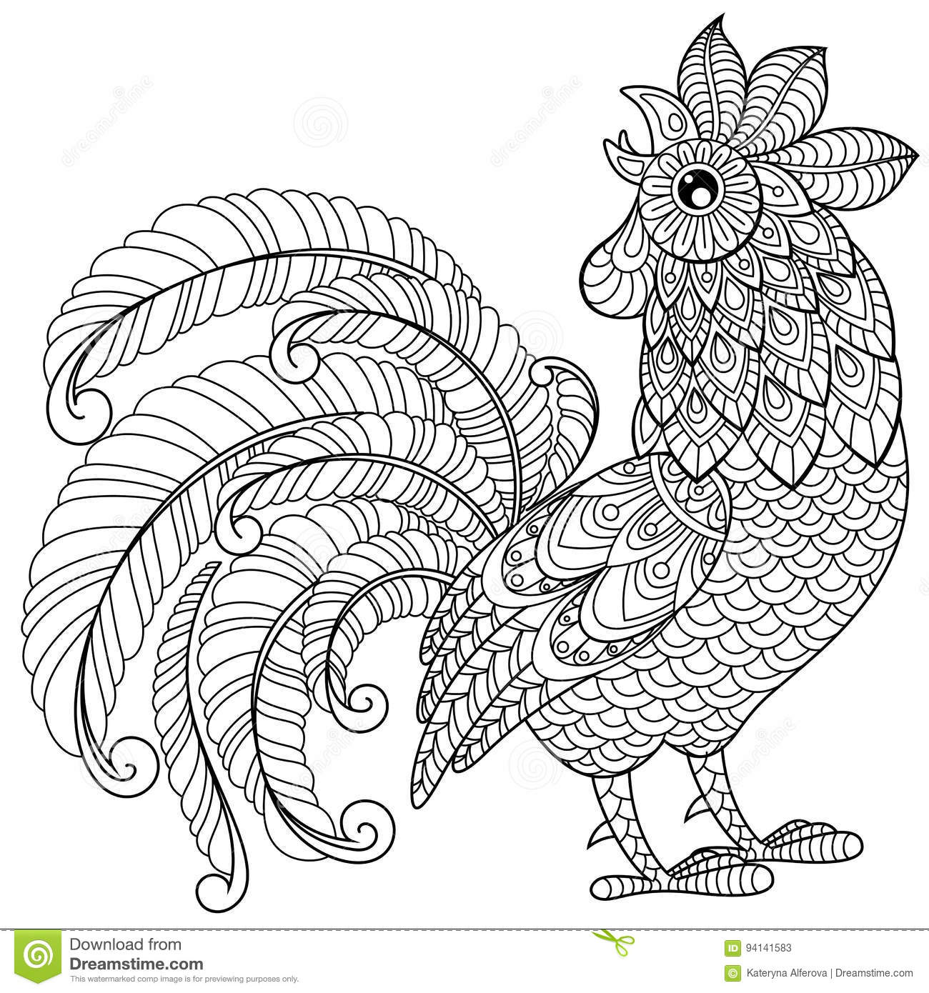 Symbol Of Chinese New Year 2017 Adult Antistress Coloring Page Black And White Hand Drawn Doodle For Book Vector Illustration