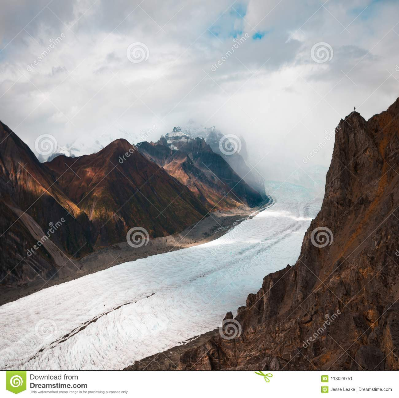 Root Glacier tumbles down from the heights of the Wrangell St Elias Mountains