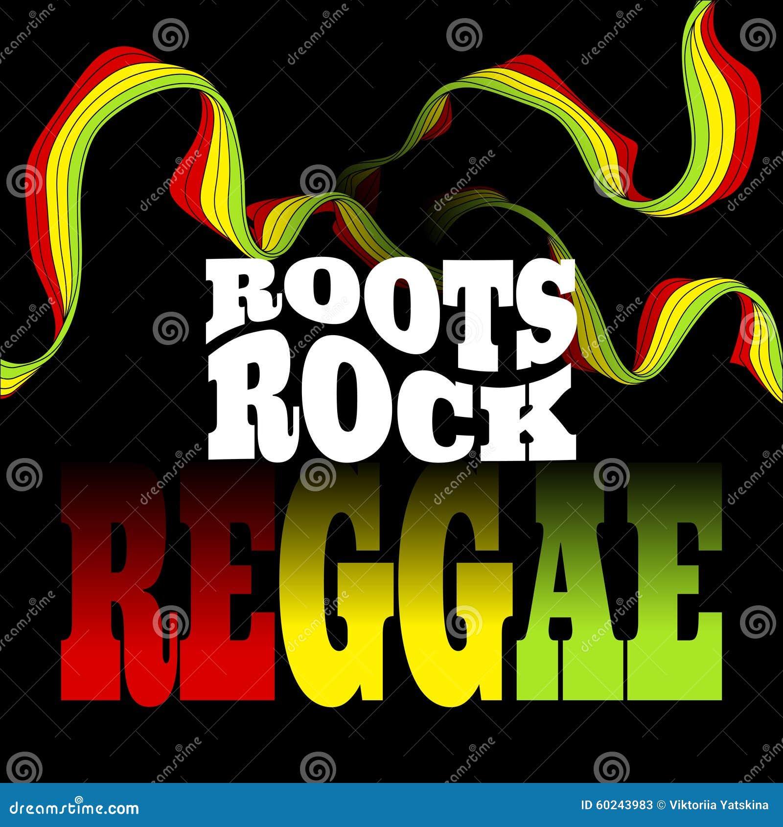 Roots Rock Reggae music design. Vector