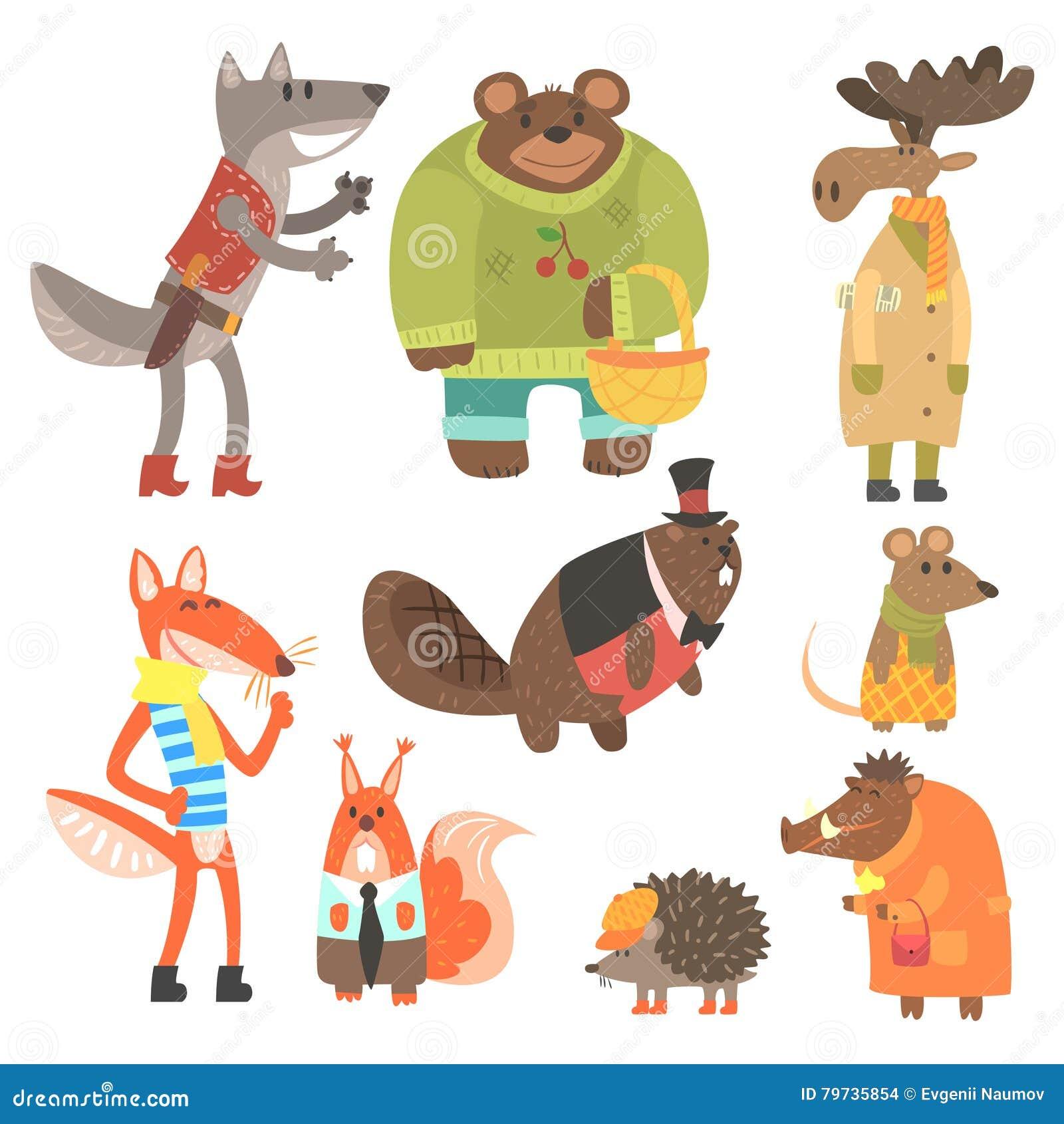 Ropa de Forest Animals Dressed In Human fijada de ejemplos