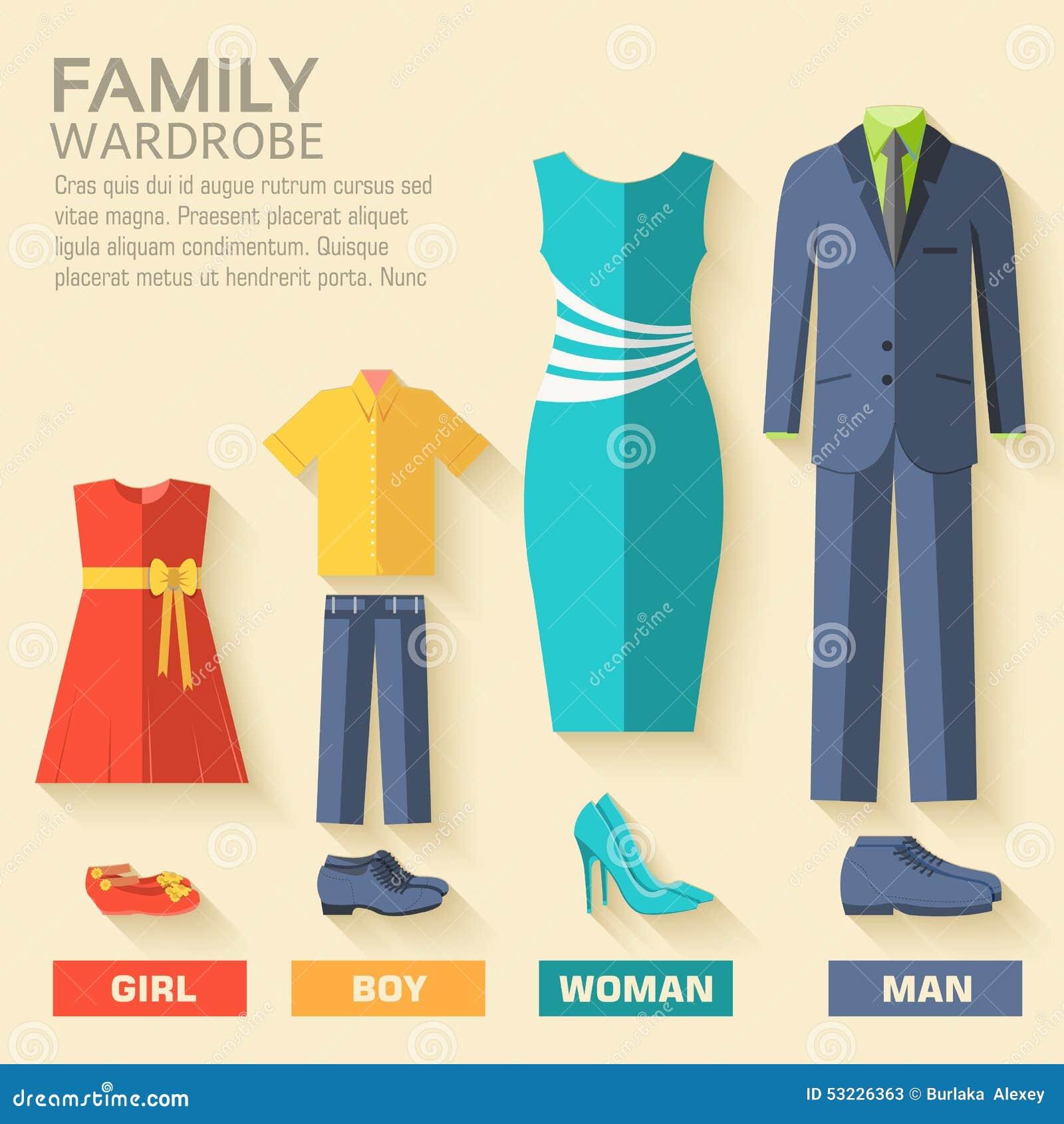 Ropa de moda del estilo para el sistema del icono de la familia