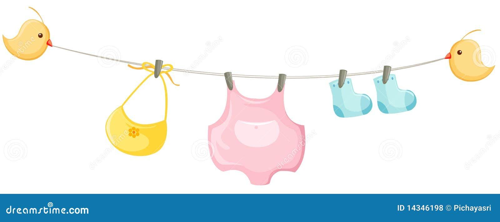 La ilustraci  243 n del beb  233  aislado arropa en una cuerda para tender la