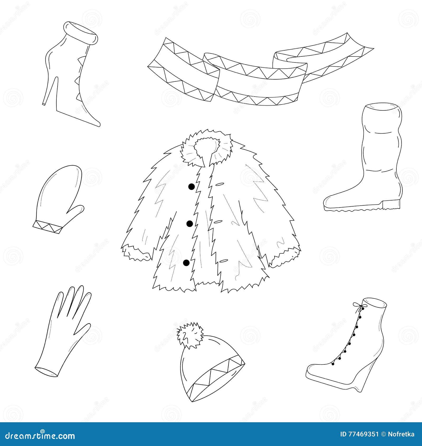 Ropa Dibujada Mano Del Invierno Bosqueje Los Zapatos Exhaustos En El ...