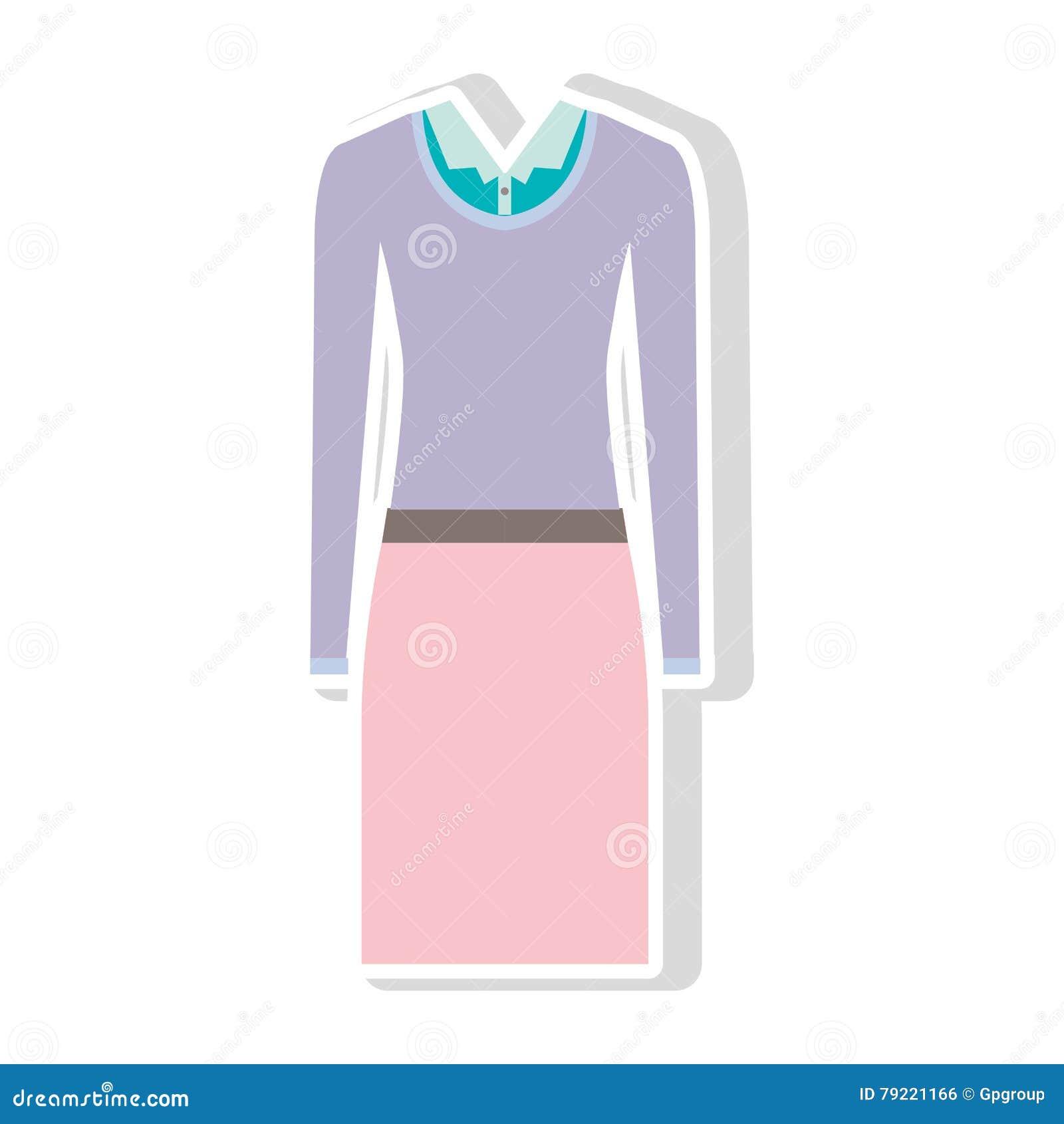653fc8c10 Falda rosada y blusa azul con el suéter púrpura diseño ejecutivo de la ropa  de las mujeres Ilustración del vector