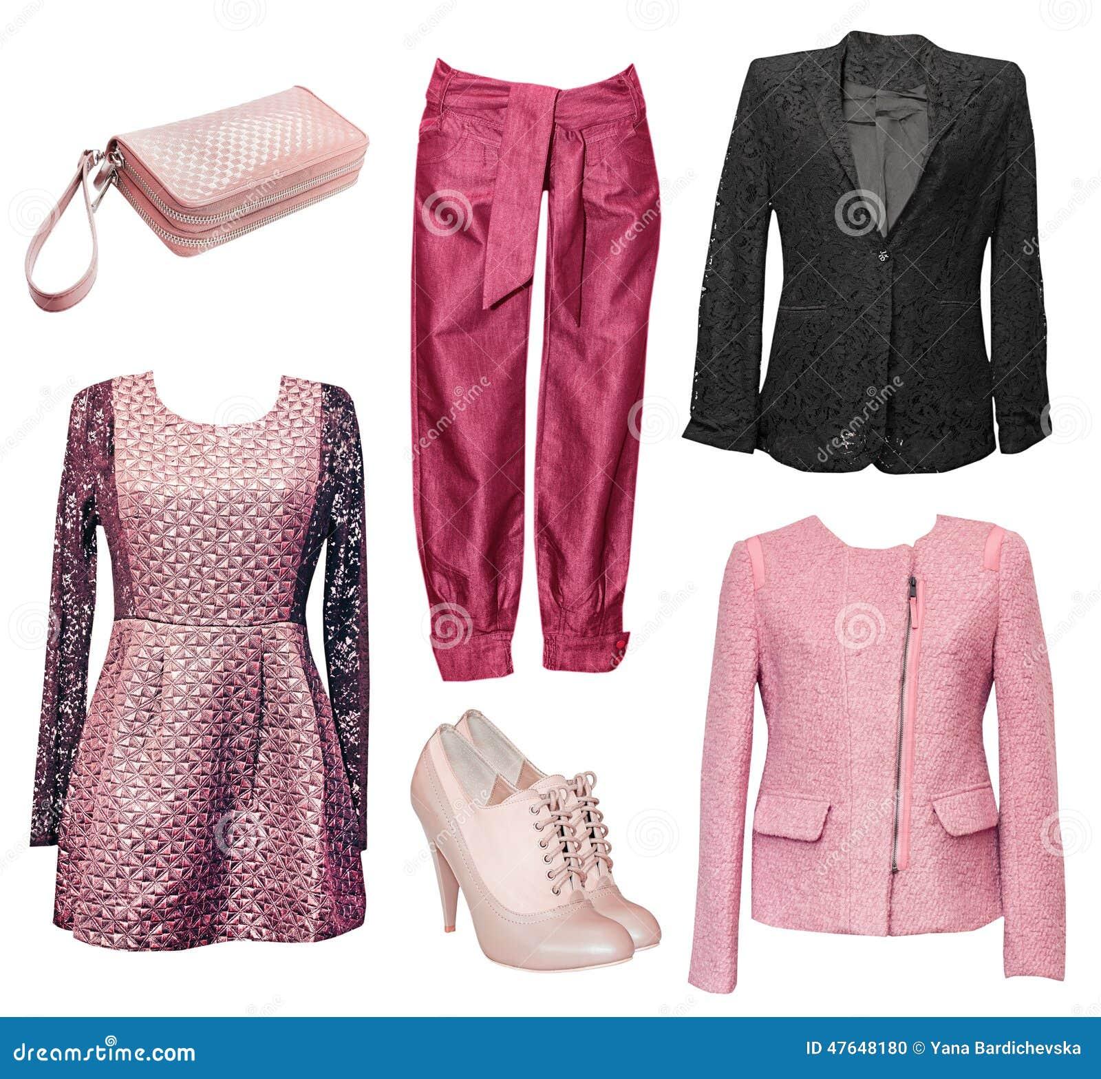 1436e0ba1 Ropa elegante femenina fijada de ropa Collage de la ropa de la mujer Aislado