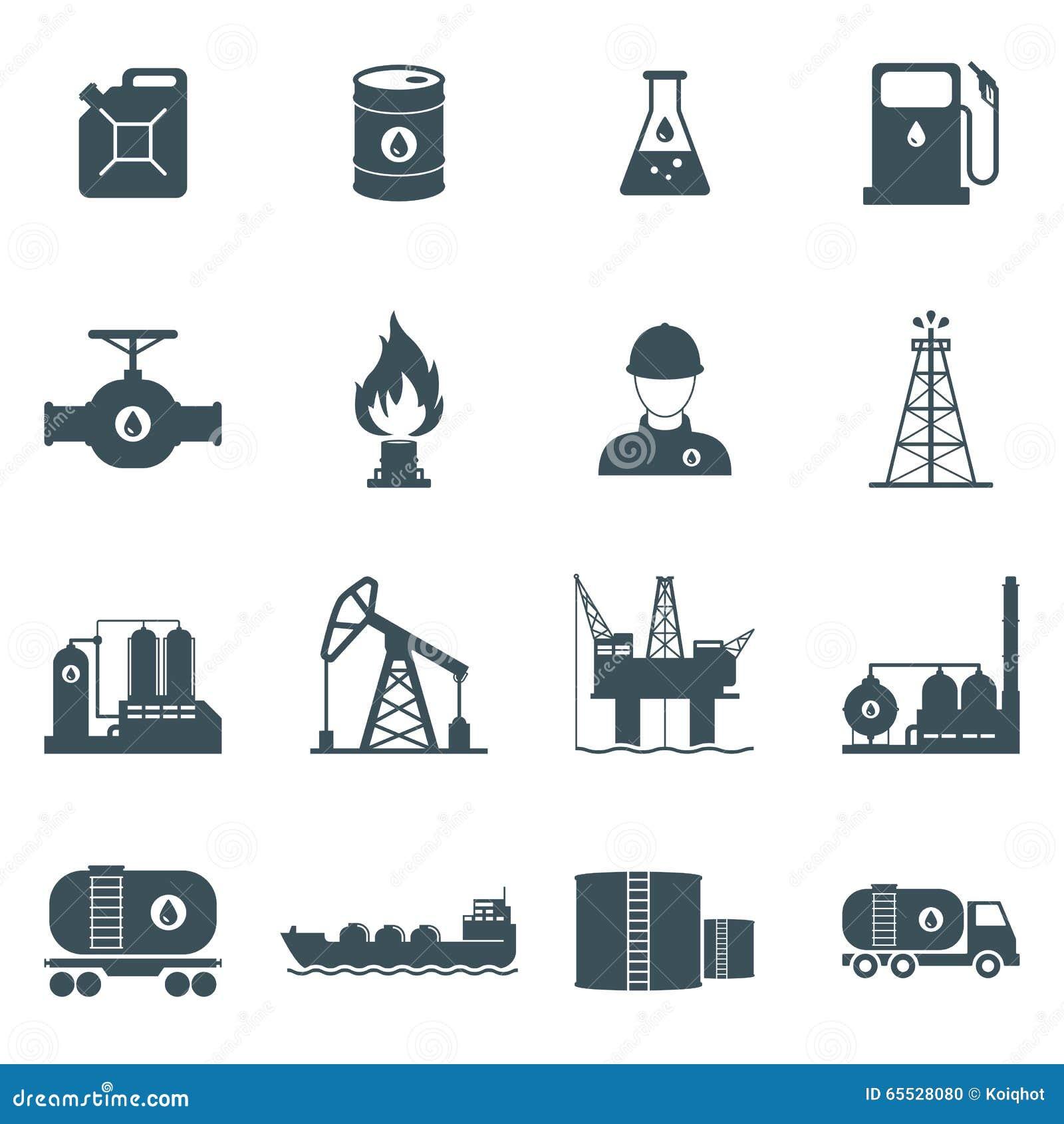 Ropa i gaz ikona set