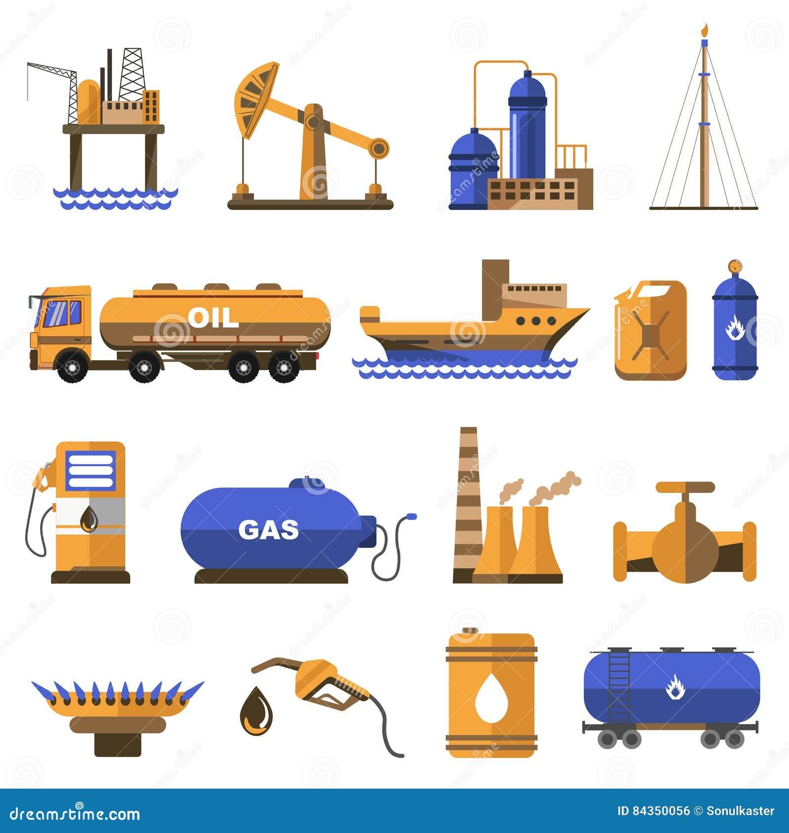 Ropa i gaz ikony ustawiać