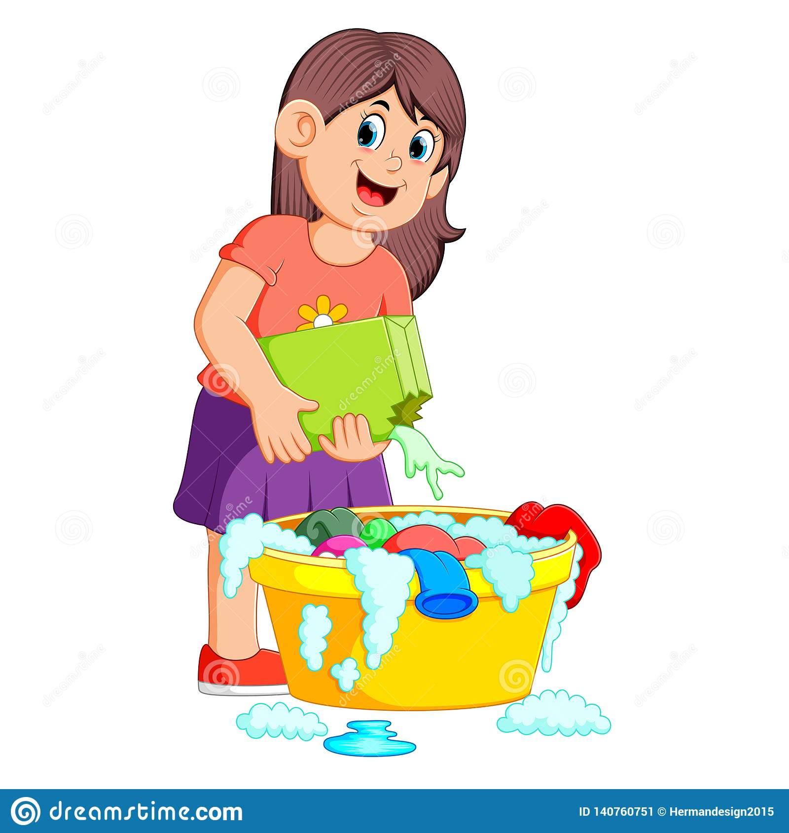 Ropa que se lava femenina en lavabo con el detergente