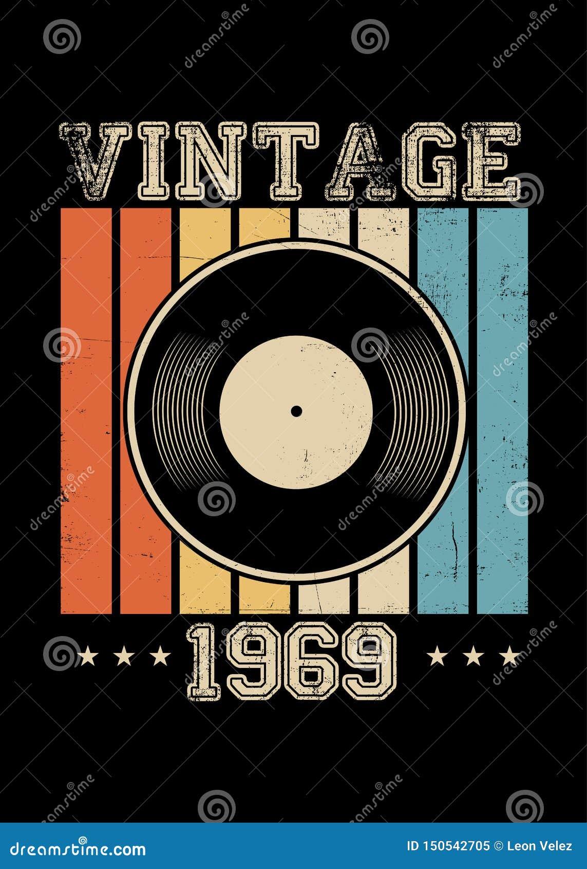 Ropa retra 1969 del cartel del vinilo del vintage apenada