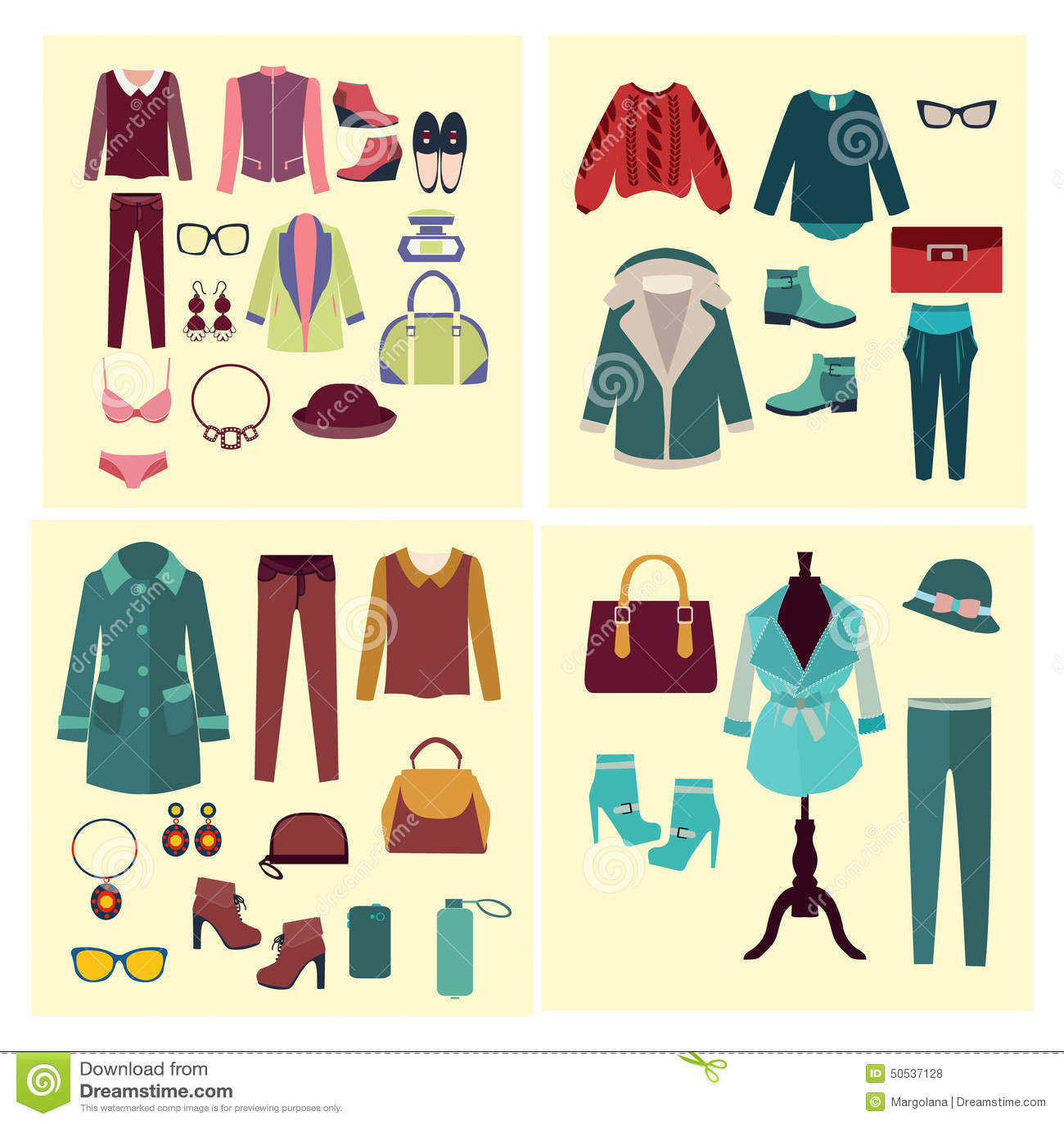 02125b2c6 Ropa Y Accesorios De La Moda Para Las Mujeres Ilustración del Vector ...