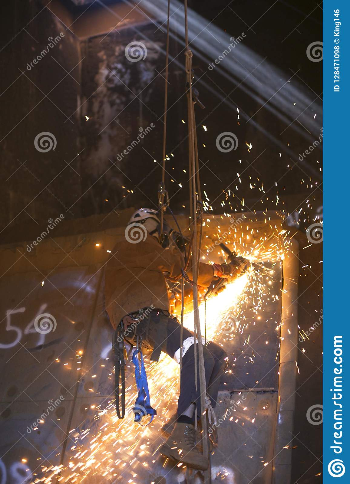 Rope Access Worker, Wearing Full Safety Body Harness, Face