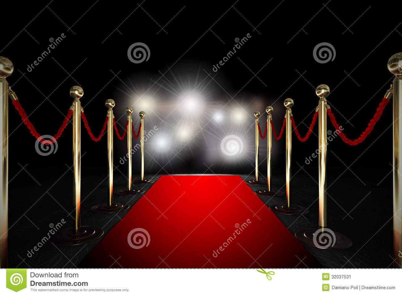 Rope barrier with red carpet and flash light stock image image