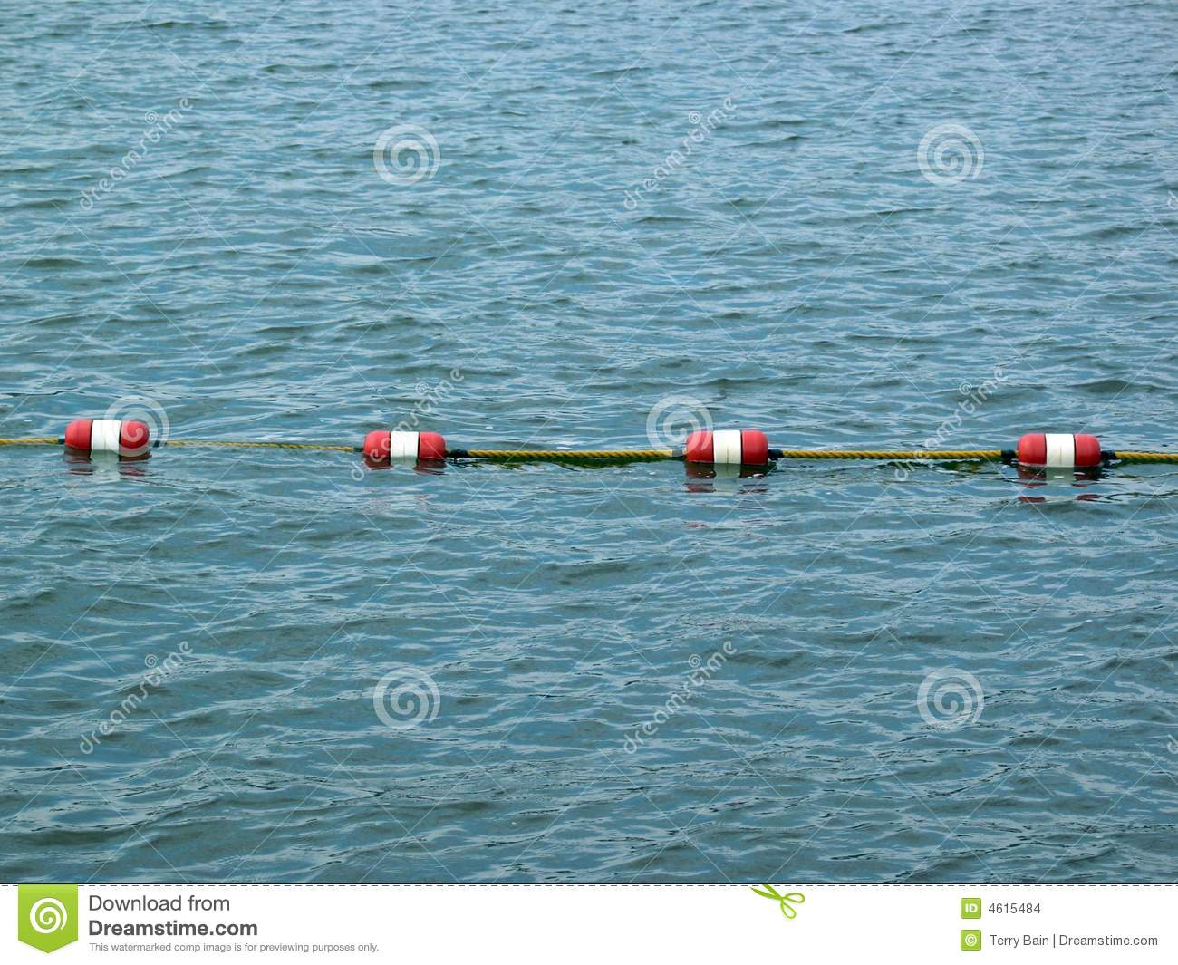 Rope Barrier In Sea Or Lake Stock Images Image 4615484