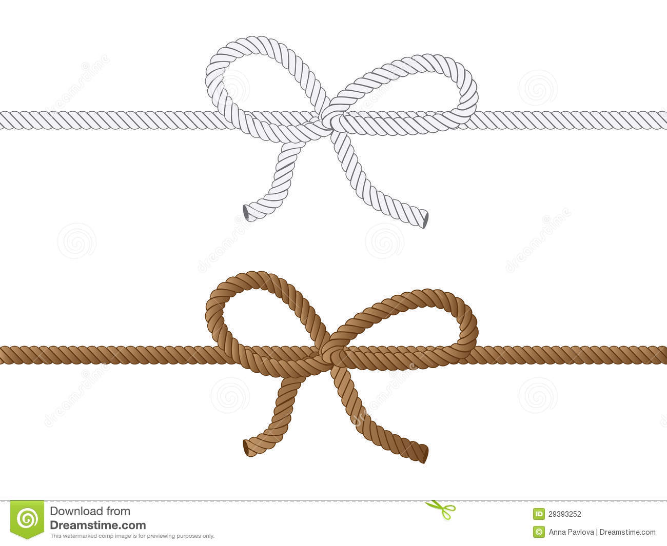 Yellow and grey rope bow on white background.