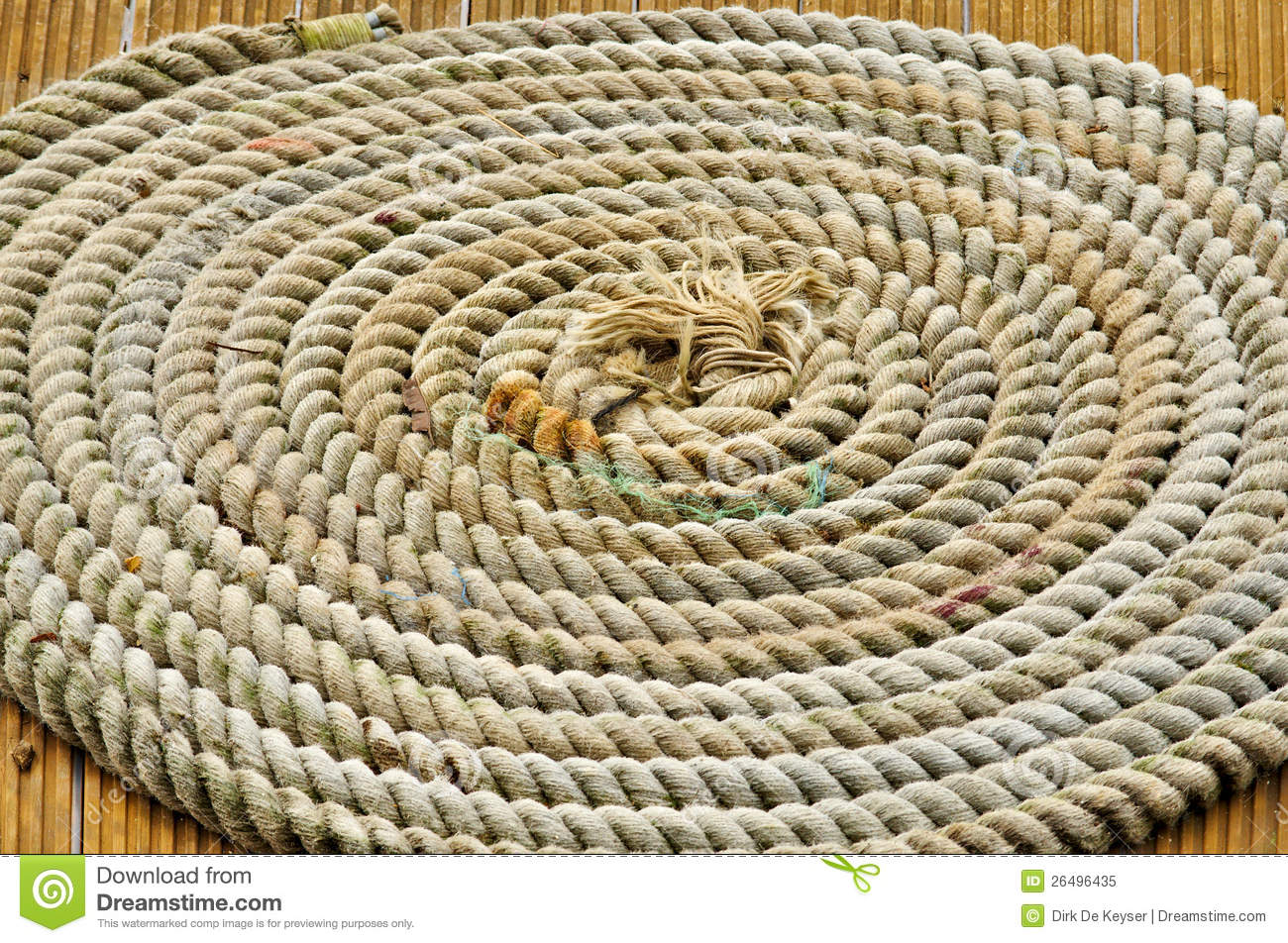 A rope in circles on a boat