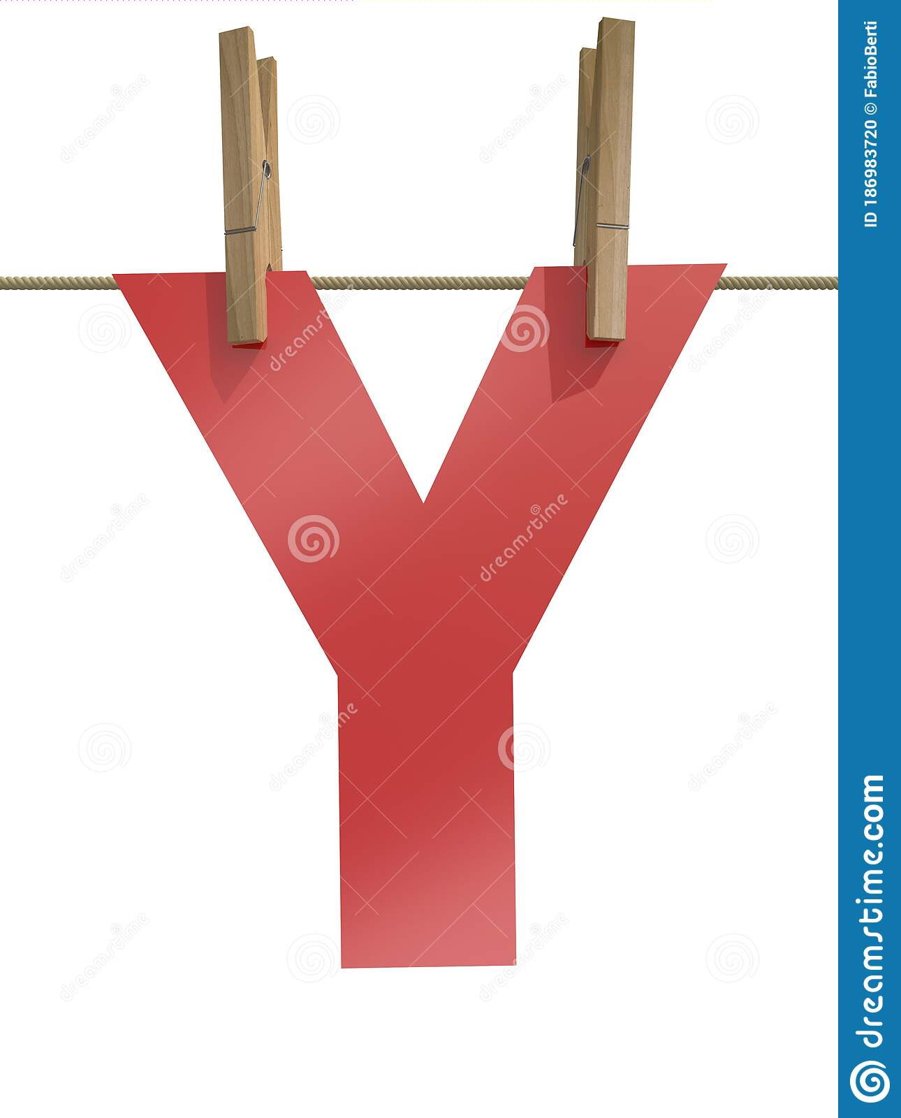 Rope With Clothespin And Letter Y Stock Illustration ...