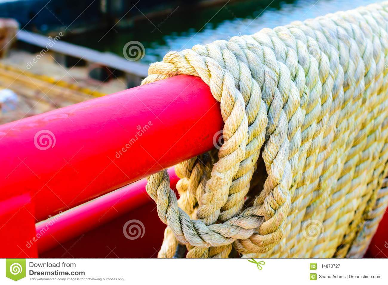 Rope on a Boat stock image  Image of boat, workboat - 114870727