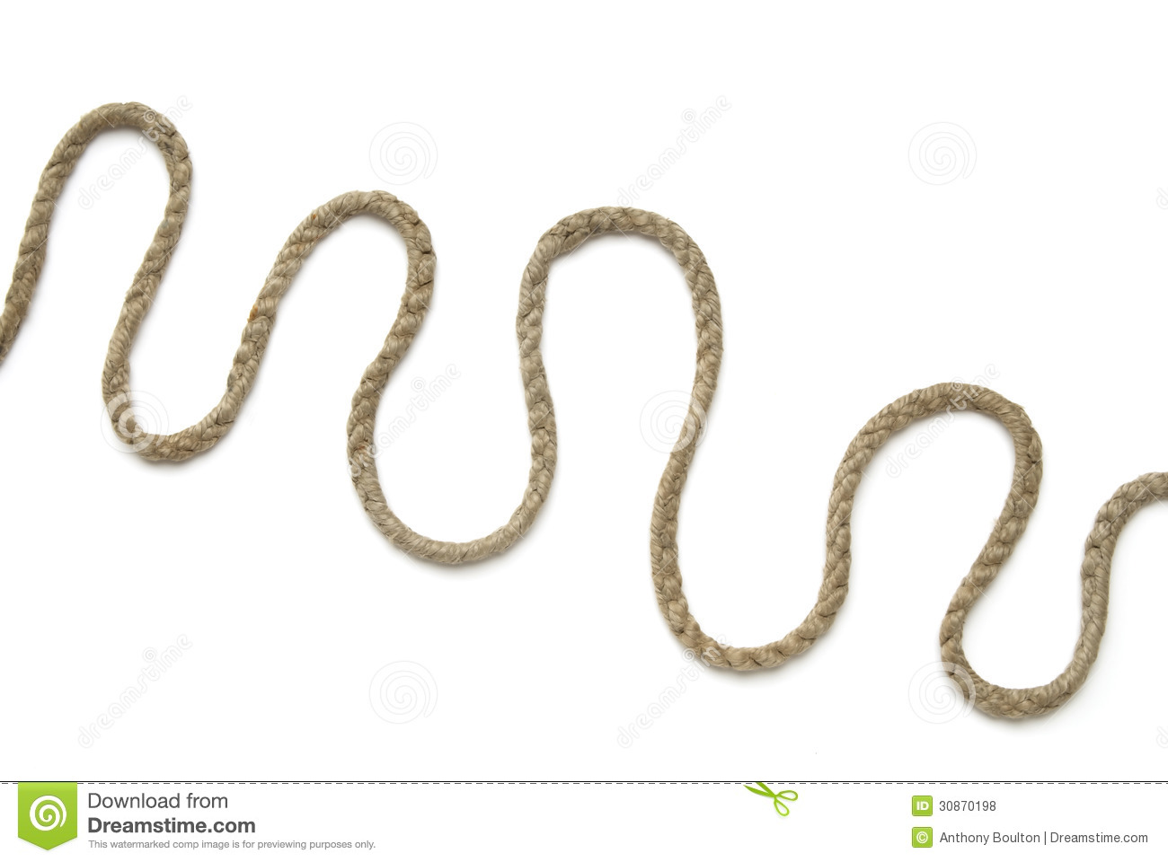 length of old thin rope arranged in curls, on white background, shot ...