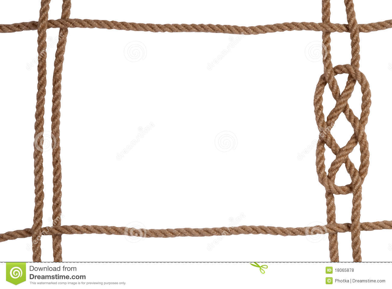 Rope frame stock photo image of isolated jute strong Rope photo frame