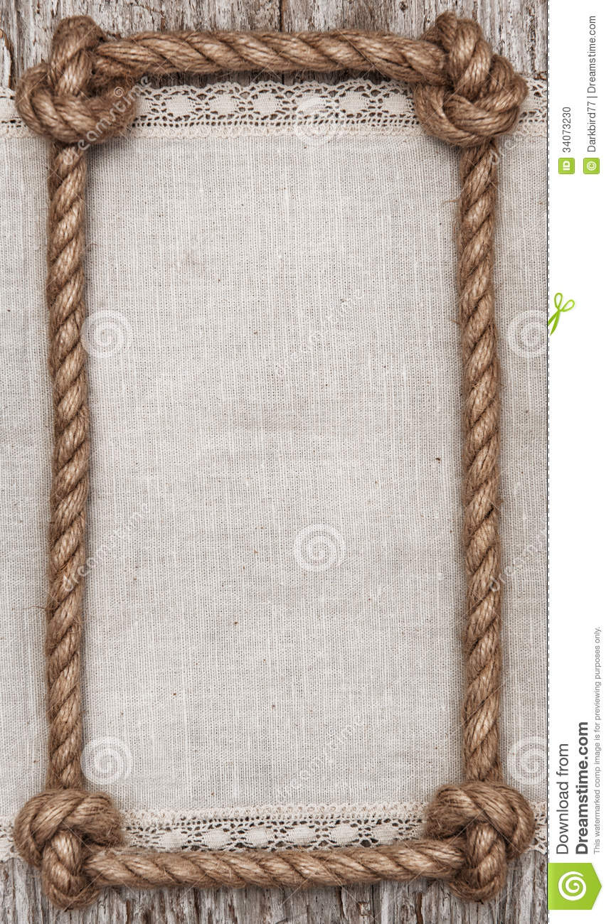rope frame linen fabric and wood background
