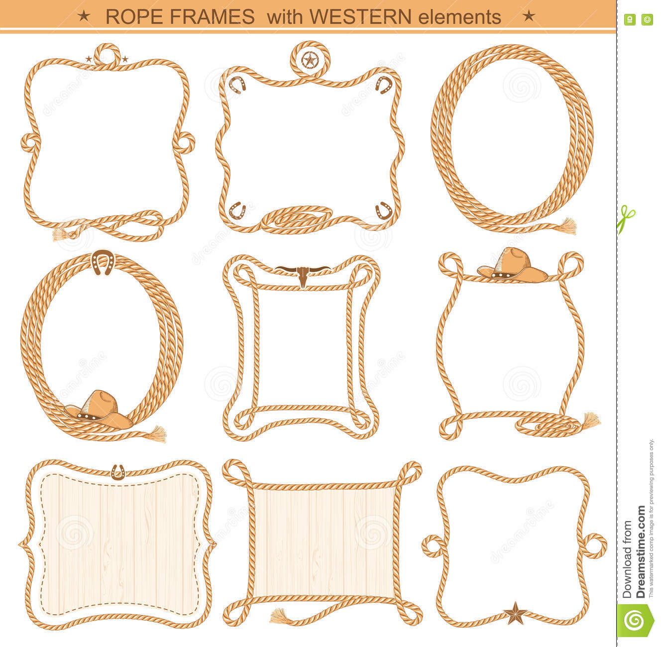 Rope Frames Background For Text With Cowboy Elements Isolated Stock ...