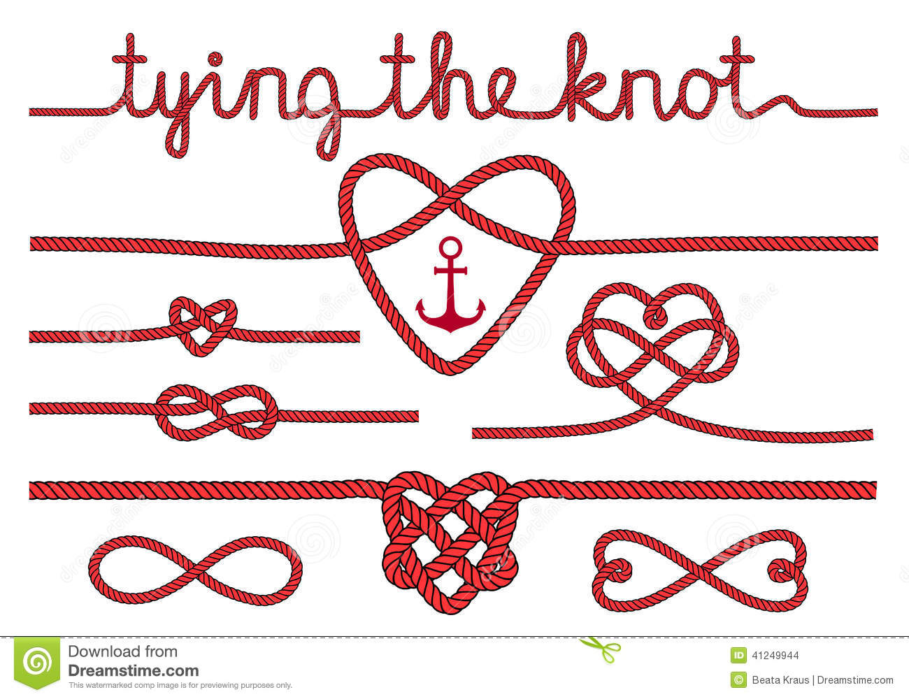 Rope Hearts And Knots, Vector Set Stock Vector - Image: 41249944