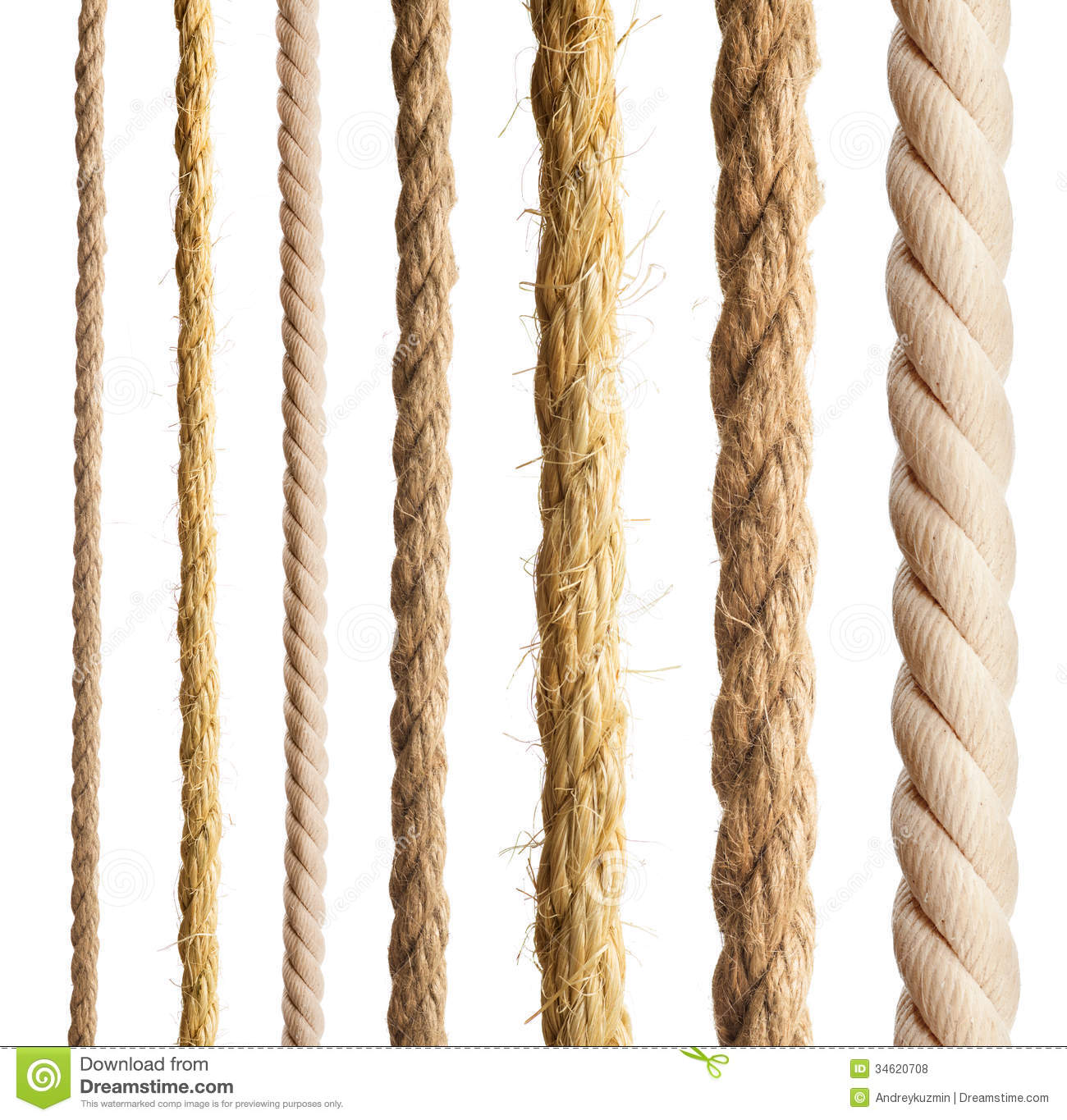 Rope isolated. Collection of different ropes on white background.