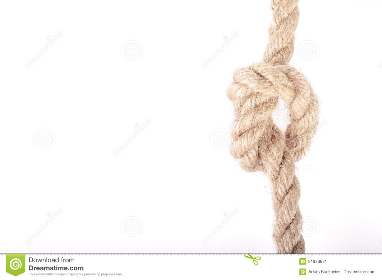 Rope Knot As A Strong Nautical Marine Line Tied Together As A Symbol