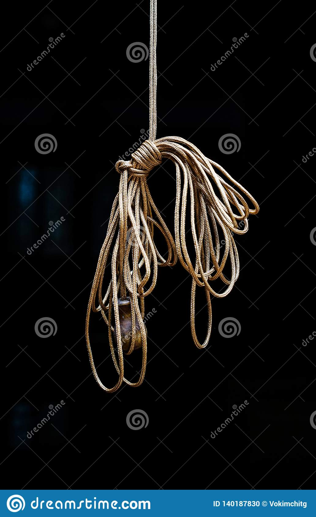 Rope knot on black background