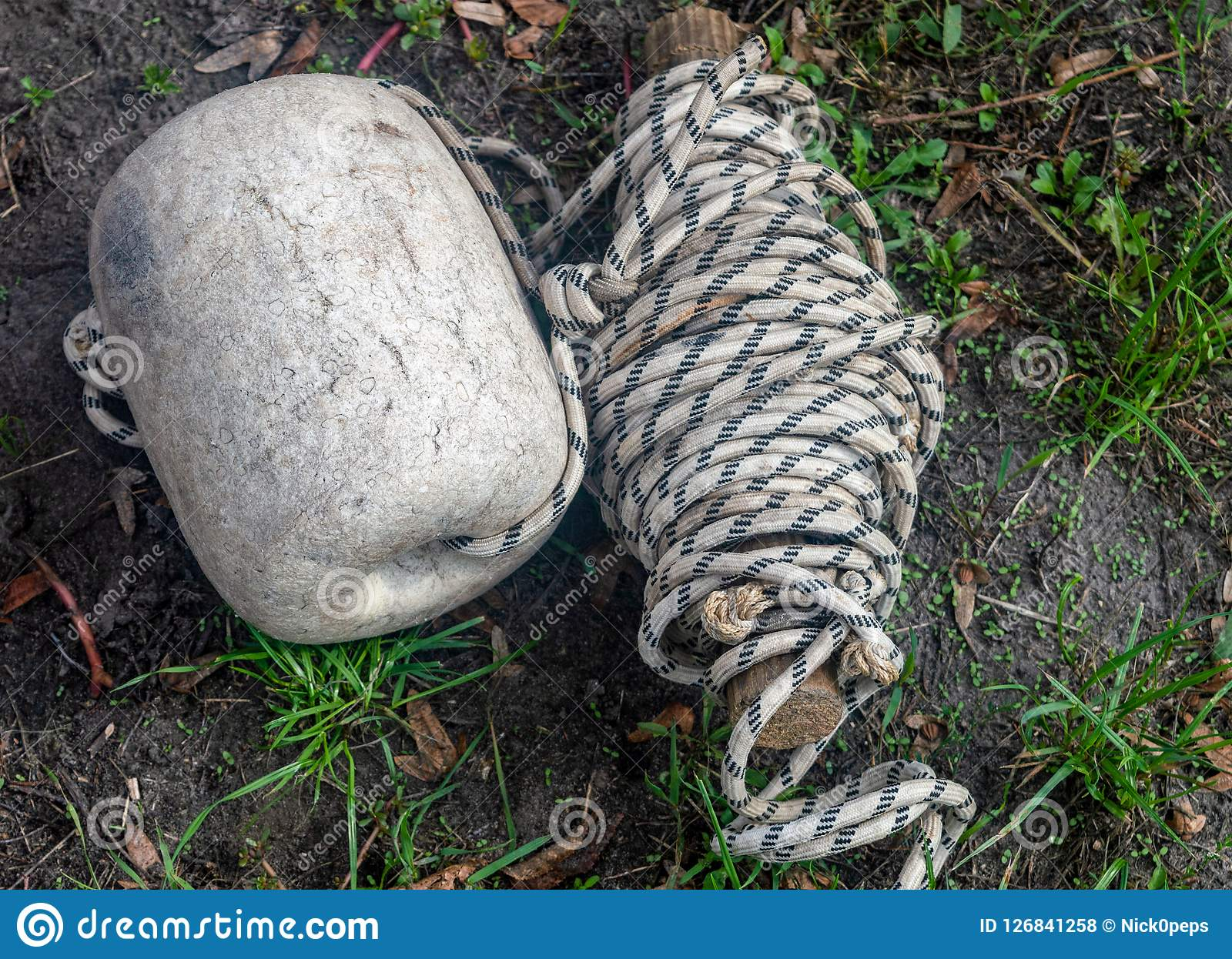 Rope lying on green grass in the Park day