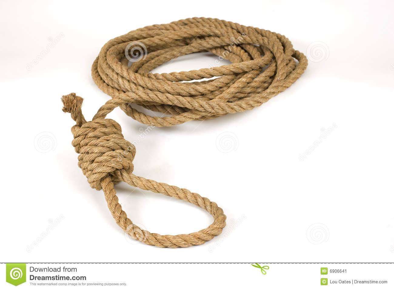 Old natural hemp rope tied into a hangman's noose on white.