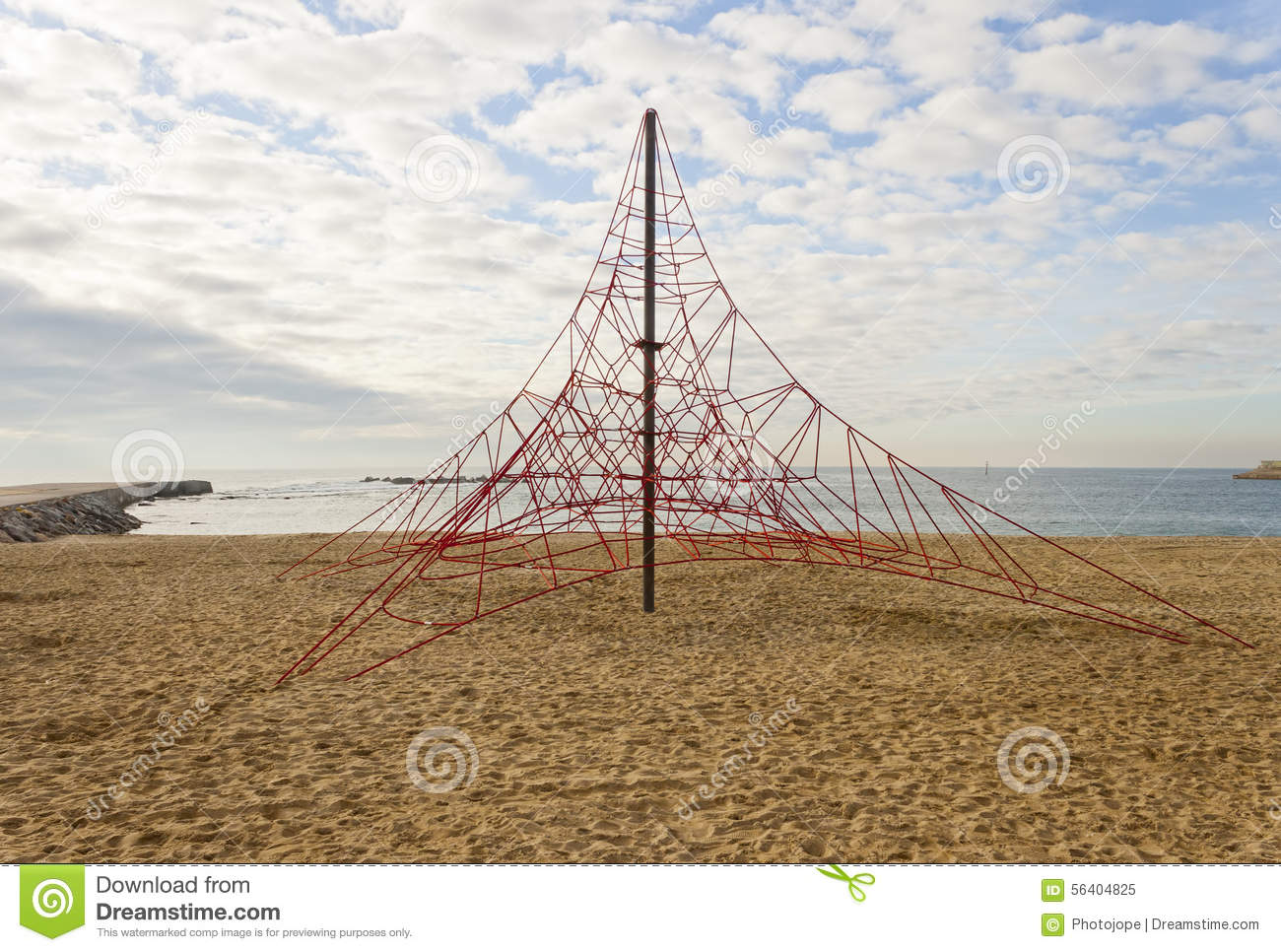 Rope Pyramid Playground In The Beach Stock Image - Image of