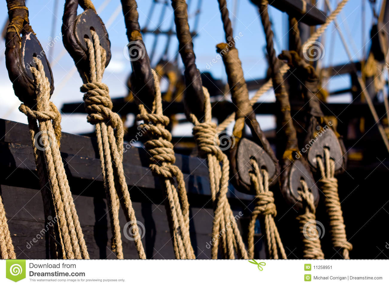 Rope Rigging On A Wooden Boat Stock Image - Image: 11258951