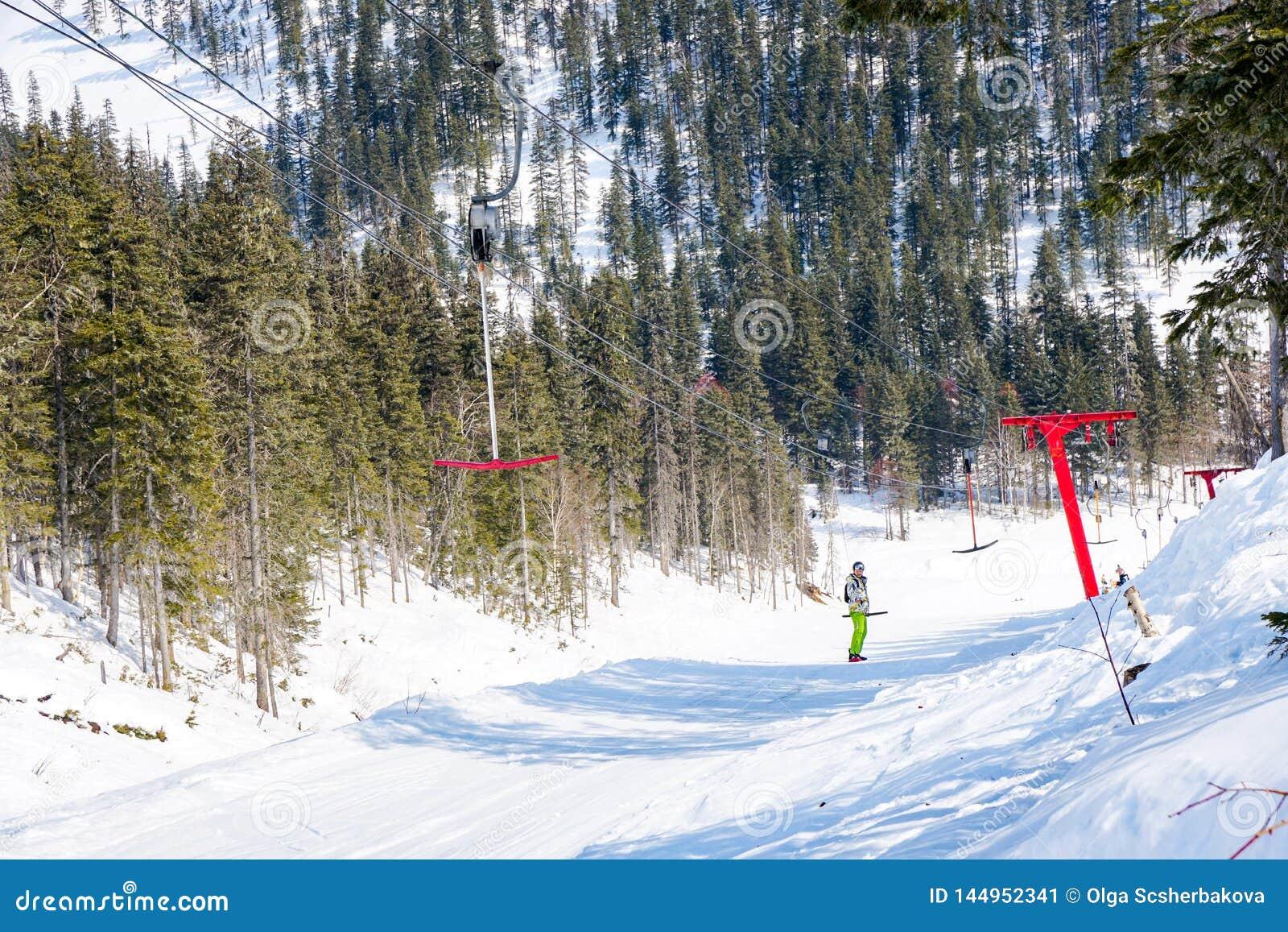 Rope tow at a ski resort