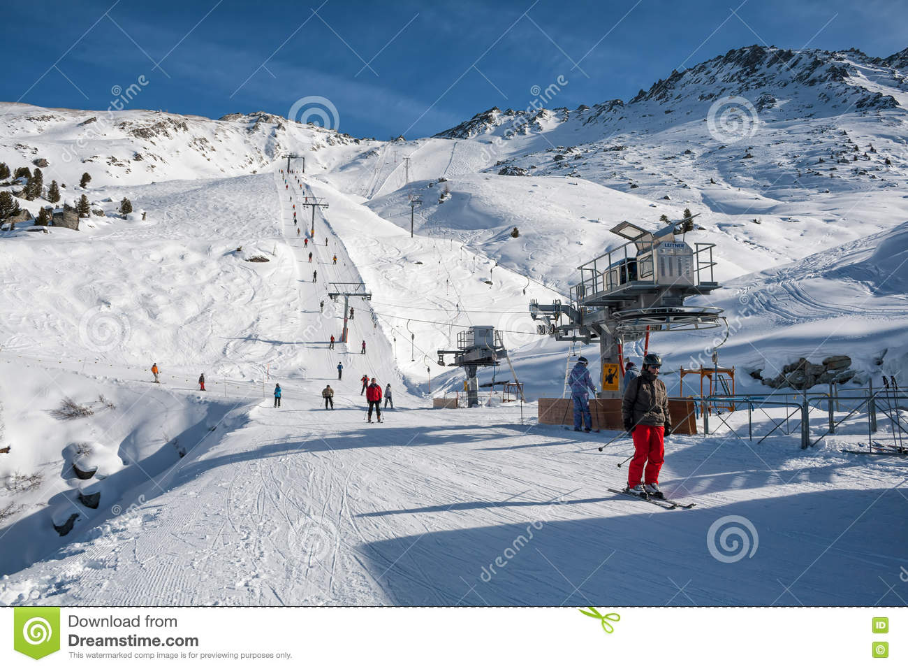 rope tow system in swiss alps editorial stock photo - image of