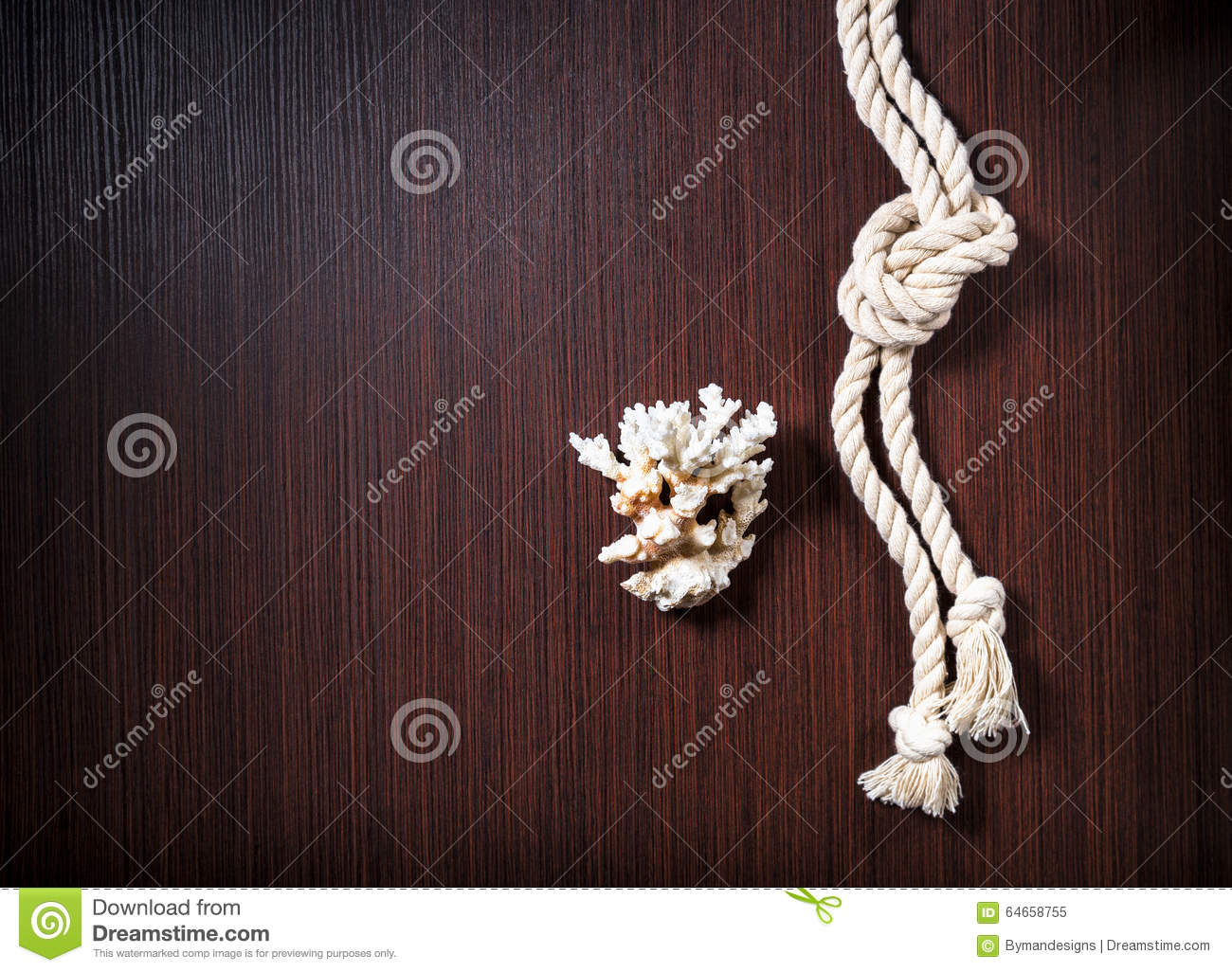 Rope with white coral on wood table stock photo image for Table coral sample