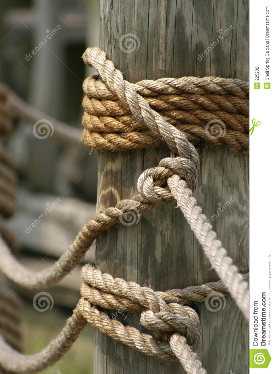 Download Rope and Wood stock photo. Image of post, braiding, fence - 225232
