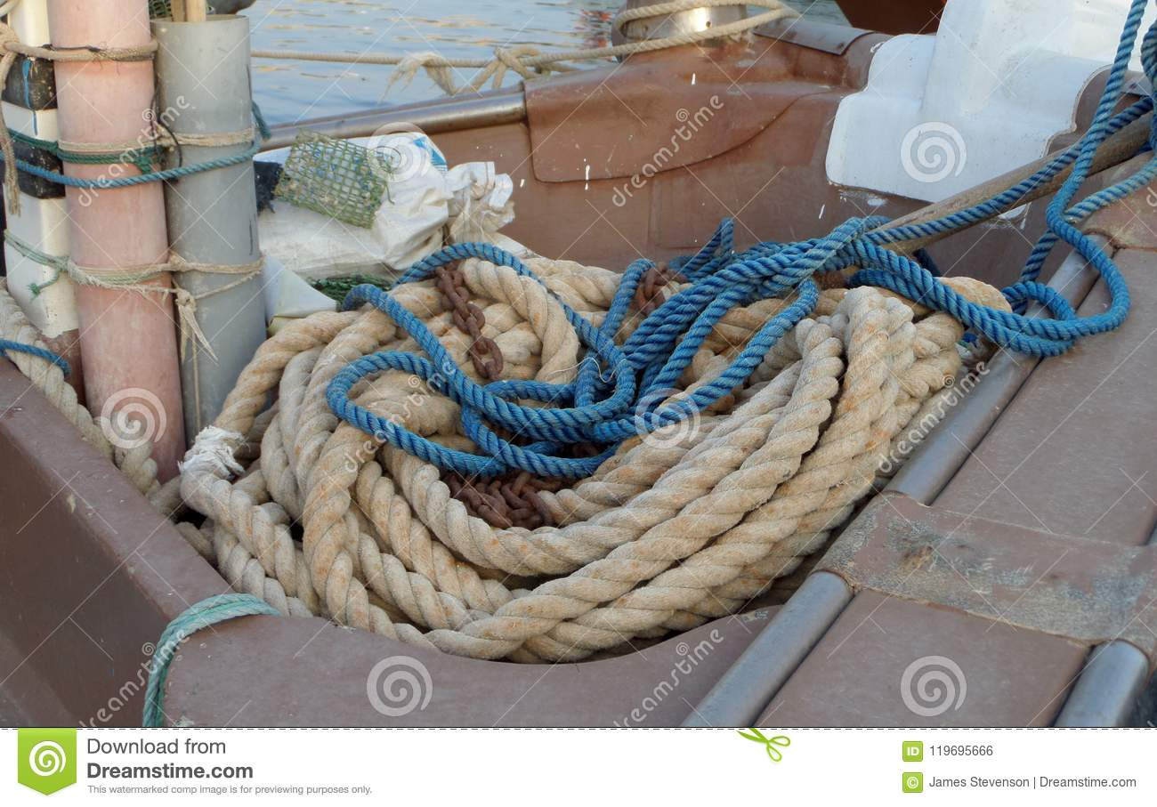Ropes, Floats On The Floor Of A Fishing Boat  Fishing Boats At The