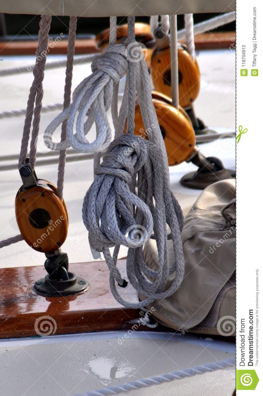 Ropes and Pulleys on a Wooden Sailboat